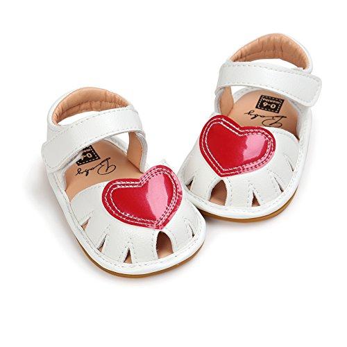 MiyaSudy Baby Schuhe Mädchen Liebe Herz Weiche Gummisohle Prinzessin lauflernschuhe krabbelschuhe Weiß