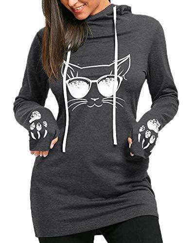 Babao Frauen Cat Print Hoodie Langarm Kapuzenpullover Warme Oberteile (Aeropostale Hoodies Frauen)