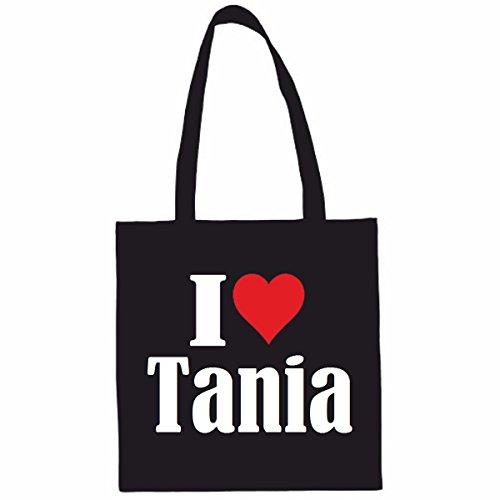 Sac à Bandoulière I Love Tania Shopping Bag Sac d'école Sac de Sport 38x 42cm en Noir ou Blanc.. Le cadeau parfait pour votre amoureux
