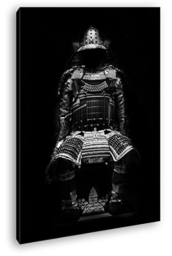 Dark goldene Samurai Rüstung Effekt: Schwarz/Weiß Format: 120x80 als Leinwandbild, Motiv fertig...