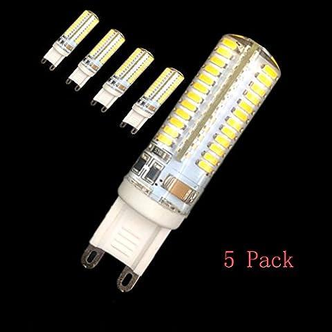 Paquete de 5 AC 220V G9 Cruz sello de silicona 3W granos de la lámpara 6500K x 48 SMD 2835 LED de la lámpara fresca de la bombilla
