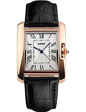Skmei Damenuhr Leder Armbanduhr Vintage Retro Designer eckige klassische Analg Quarzuhr(Rot Schwarz Braun)