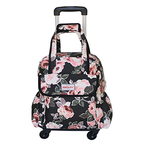 Frauen Geschäftsreisen Trolley Taschen Reise Rucksäcke mit Rädern Gepäck Trolley Rucksack Wasserdichter Druck Leinwand Rollgepäck Suitcase-16 Zoll,J