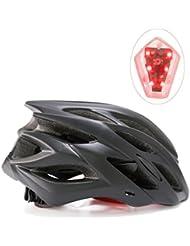 Shinmax Specialized Bike Helm mit Sicherheitslicht, Verstellbare Sport Fahrradhelm Fahrrad Fahrradhelme für Road & Mountain Biking, Motorrad für Erwachsene Männer und Frauen, Jugend - Racing, Sicherheit Schutz (Schwarz-Großes Licht)