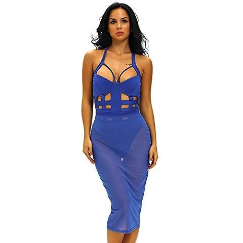 YLSZ-la jupe, dos nu gaze bandage belle combinaison jupe,Bleu,S