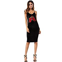 Rosennie Women Velvet Dress V Neck Sleeveless Embroidered Floral Evening Party Dress