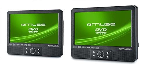 Muse M-990 CVB tragbarer DVD-Player Auto (22,9 cm (9 Zoll), USB, SD/MMC-Kartenleser, AV-Anschluss) mit 2 Bildschirmen und stabiler Halterung für die Kopfstütze (Spange) - 2