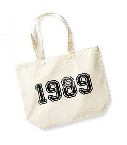 1989 - Large Canvas Fun Slogan Tote Bag Natural/Black