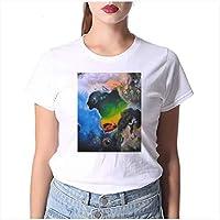 LuoMei Camiseta Estampada Blanca Jersey de Manga Corta con Cuello en o para Mujer Camiseta de Algodón Puro para Mujer Camiseta con Fondo para Mujer Camiseta de Verano para MujerComo se muestra, l