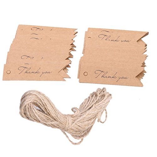 Pixnor thank you kraft carta regalo tags bomboniera appendere etichetta - 100pcs