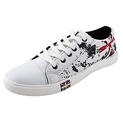 Bintpul Mens(SRV) Mens White Red Printed Casual Canvas Shoes-10
