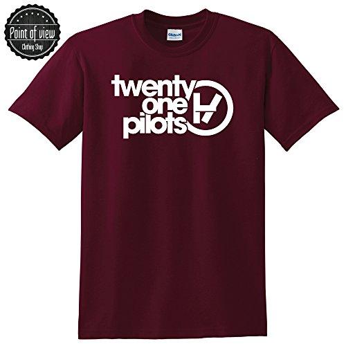 Twenty One Pilots T shirt Twenty One Pilots Tickets 21 Pilots tshit Band Konzert (Large, Maroon)