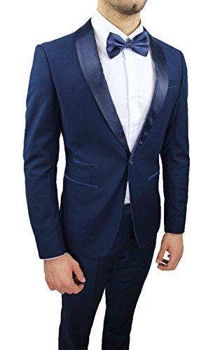 Abito Completo Uomo Sartoriale Blu Elegante Tessuto Raso Nuovo Slim Fit  Aderente 2e441679f1d
