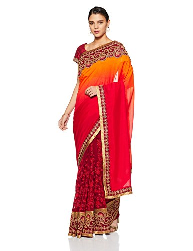 Aalia Faux Georgette Embroidered Saree with Blouse piece (15624!_Coffee and Red Ombre!_One size)