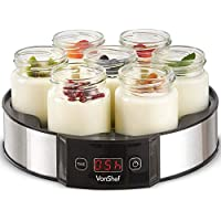 VonShef Digital Yoghurt Maker with 7 Jars – Stainless Steel Machine/Glass Containers – Fresh, Healthy Homemade Yoghurt