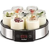 VonShef Digital Yoghurt Maker with 7 Jars – Stainless Steel Machine/Glass Containers –