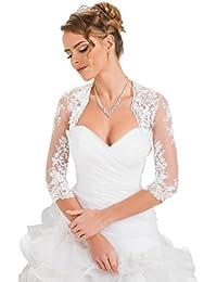 df5ef8281906 Fine ed Elegante Coprispalle Nuziale Stile Bolerino da Sposa in Pizzo