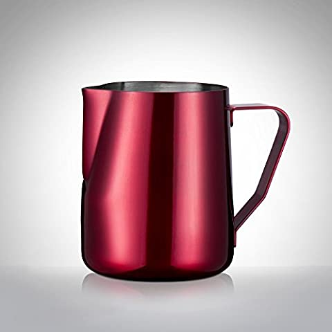 ufengke®12 oz 18/8 Stainless Steel Milk Frothing Pitcher Milk Cup For Espresso Latte Art Jug,Red