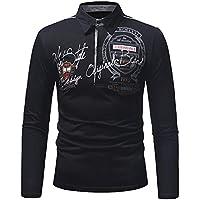 Camisetas Polo para Hombre Mangas Largas Camisas Algodón Imprimiendo Slim Fit Blusa La Solapa Golf T-Shirt Oficina Botón Cuello Gusspower