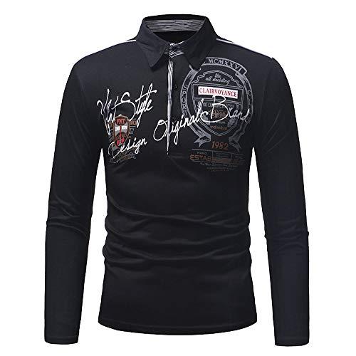 Xmiral Herren Sweatshirt Casual Slim Print Langarm Umlegekragen Plain Polo Shirt (XXL,Schwarz)