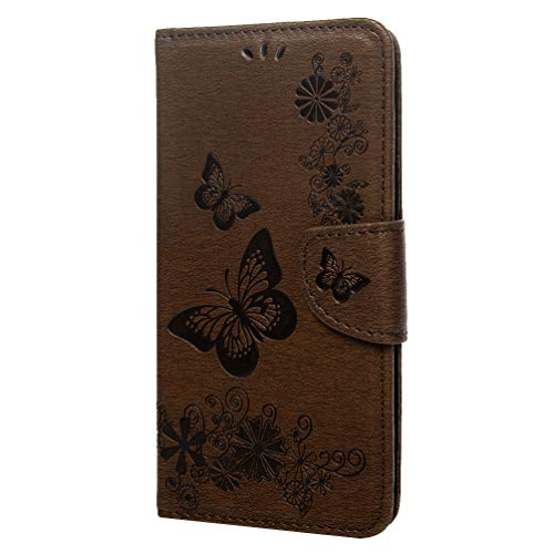 Huawei Mate 20 Lite Hülle, PU Leather Flip Case Cover Klappbares Magnetverschluß Holder Handyhülle Brieftasche Schutzhülle Klappen mit Integrierten Kartensteckplätzen braun -