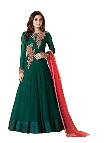 Special Mega Sale Festival Offer C&H Dark Green Georgette Embroidered Designer Anarkali...