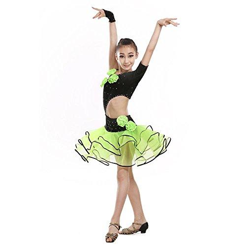 YI WORLD Frau Lateinischer Tanz Kleidung Kind Gymnastik Match Kleidung Elasthan Kleid Grün , green , 130cm