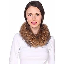 Ferand-Bufanda de Mujer Cuello Alto de Piel de Mapache OriginalCalentador de Cuello en Color