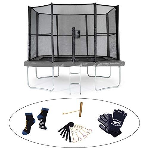 Ampel 24 Trampolin Akrobat-Orbit grau 335 x 244 cm komplett mit Netz und Leiter, rechteckig, Belastbarkeit 130 kg, Außennetz mit 8 gepolsterten Stangen