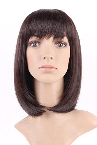 S-noilite® Wie Echthaar Damen Perücken Natural Braun Glatt Kurz Haar Perücke Wig + Freie (S Perücke)
