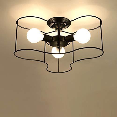 Xungzl 3 Lichter Semi Flush Mount Deckenleuchte Anhänger Kronleuchter Leuchte mit Metallkäfig schwarz for Wohnzimmer Schlafzimmer -