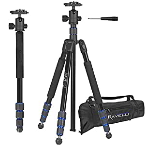 Ravelli Professional 65 Ball Head Camera Video Photo Tripod with Quick Release Plate and Carry Bag