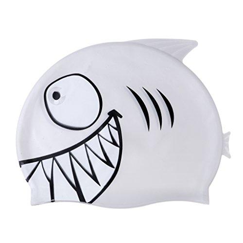 Baoblaze Hochwertige Silikon Badekappe Bademütze Badehaube Schwimmmütze Schwimmhaube Schwimmkappe mit hervorragenden Tragekomfort für Kinder - Haifisch Grau