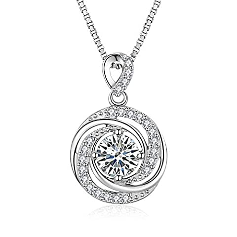 S.Vantine 925 Sterling Silver Round Necklace Cubic Zirconia Chain Long Pendant