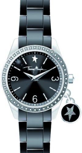 Thierry Mugler - 4715001 - Montre Femme - Quartz Analogique - Cadran Noir - Bracelet Plastique Noir