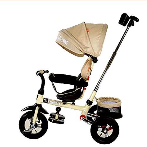SANLUNCHE Dreirad Baby Fuß Falten Lernen Gleichgewicht Auto Kinder Leichtgewicht Reiten Fahrrad Verstellbarer Push-Pull-Griff Drehsitz Regenschutz Mit Kupplung Bremse 100 × 88 × 52 Cm Klappbarer Kinde -