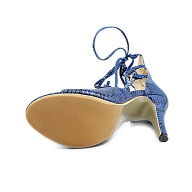 LvYuan Sandalen-Kleid Lässig Party & Festivität-PU-Stöckelabsatz-Club-Schuhe-Blau Weiß Beige Khaki Blue
