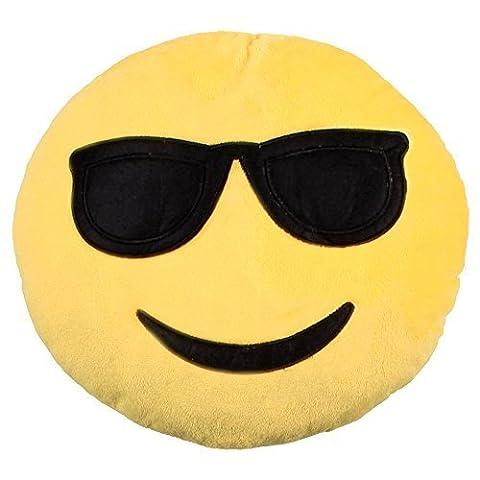 """ocona© Emoticon Dekokissen """"Emoji cool"""" whatsapp Lach Smiley Stuhlkissen Sitzkissen"""