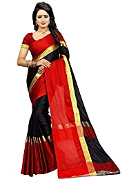 TULSI FAB Women's Cotton Silk Saree With Blouse Piece (Black & Red)