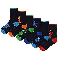 Boys 6 Pack Design Socks Funny Face Cotton Rich Stripes Monster Grey Black Coloured Socks