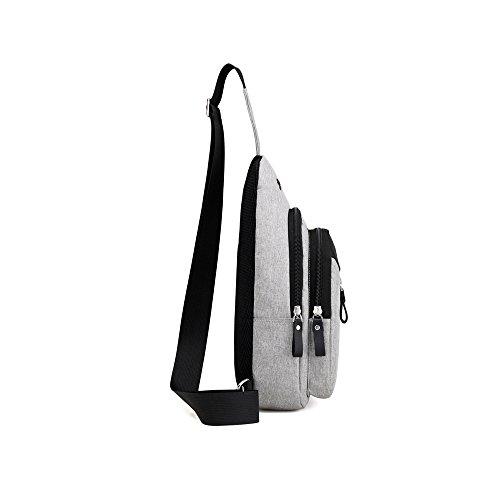 DOXUNGO Unisex Sling-Rucksack Oxford-Tuch Multifunktionale Schultertasche mit Kopfhörer-loch für Freizeit Reisen Wandern Fahrradfahren(ohne Kopfhörer) Blau