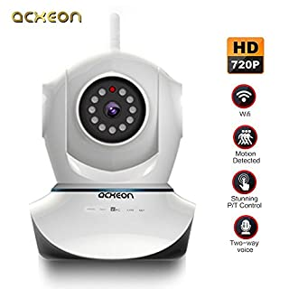 Acxeon HD 720P WiFi IP Security Camera, Wireless Network IP Camera Day Night Pan / Tilt Video Surveillance Home Security Monitoring Baby Pet Monitor Indoor CCTV - Motion Detection, Linkage Alarm, Two Way Audio Talk, Built-in Mic & Speaker, QR Code Scan & Connect, iOS & Android Mobile View, Night Vision White
