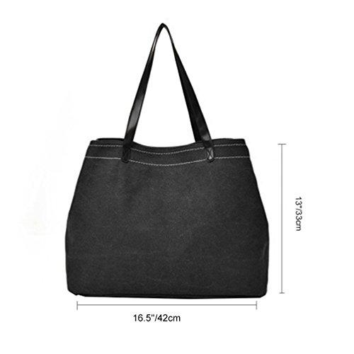 Vbiger Segeltuch Handtasche Beiläufig Schultertasche Große Kapazität Tragetasche für Frauen Schwarz