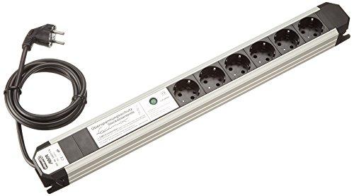 APSA D6011/6 sw/si Steckdosenleiste Octagon 6 Einsätze mit Überspannungsschutz und EMV-Filter Schönes Design, 4000 W, 250 V, Schwarz/ Silber, (L x B): 526 x 60mm