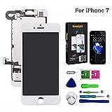 Hoonyer Display per iPhone 7 Touch Screen LCD Digitizer Schermo 4,7' Utensili Inclusi(con Fotocamera, Altoparlante, Sensore Flex) Bianco