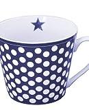 Krasilnikoff - Happy Cup - Tasse - dunkelblau mit weißen Punkten - Porzellan - H9 x Ø10 cm