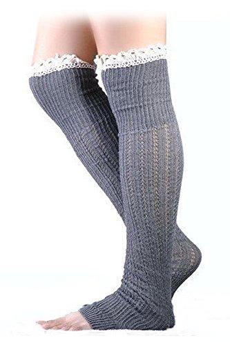 Calentadores de pierna - SODIAL(R)Calentadores de pierna de punto de ganchillo de invierno de mujer Gris claro