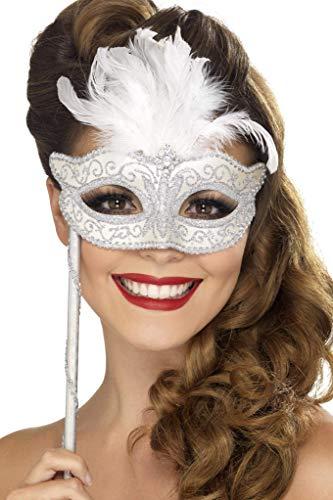 Smiffys Fever Damen Barocke Fantasie Maske mit Federdetail und Handgriff, One Size, Weiß-Silber, 24553 (Ohne Ideen, Halloween-kostüm Dressing Up)