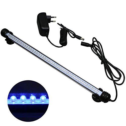 Mingdak LED Aquarium-Licht-Kit für Fischtank, Unterwasser-Tauchkristallglas-Leuchten, geeignet für Salzwasser und Süßwasser, 42 Leds, 15-Zoll, Beleuchtungsfarbe Blau