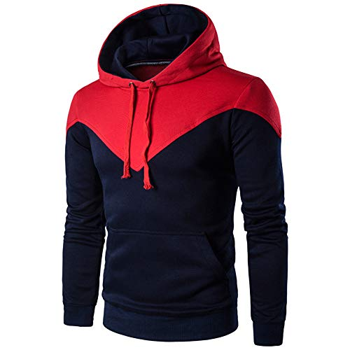 OSYARD Herren Hoodie Sweatshirt,Kapuzenpullover,Oberteile, Männer Herbst Winter Langarm Splicing Kapuzenpulli Lose Tasche Hooded Pullover Tops Bluse T-Shirt Pulli mit Kapuze(M, Rot)